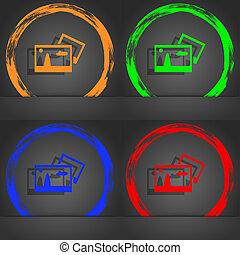 Copy File JPG sign icon. Download image file symbol. Fashionable modern style. In the orange, green, blue, red design.