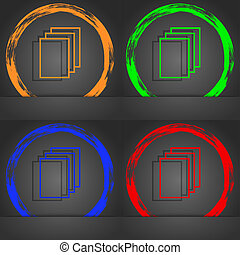 Copy file sign icon. Duplicate document symbol. Fashionable modern style. In the orange, green, blue, red design.