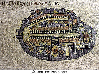 A copy of fragment of the oldest floor mosaic map of the Holy Land - the Holy City Jerusalem. Original in Jordan. Madaba (biblical Medeba) - St. George's Church. There are clearly visible surrounded walls, north-south Cardo street (with colonnade), the Damascus Gate plaza and the church of the Holy ...