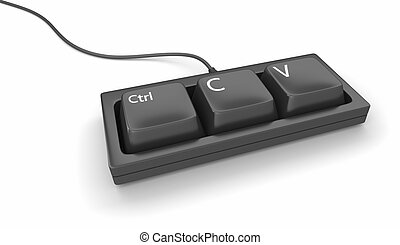 Computer keyboard with only three keys, ctrl, C and V for copy and paste.
