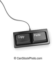 Keyboard with two buttons, copy and paste.