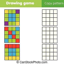 Grid copy children educational game, printable drawing kids