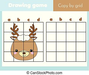 Copy picture by grid. Educational game for children and kids. Animals theme, cute deer face