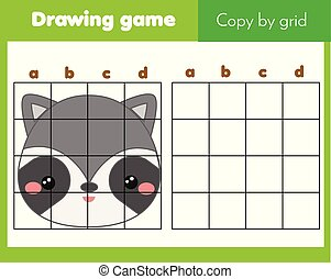 Copy picture by grid. Educational game for children and kids. Animals theme, cute raccoon face
