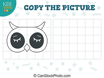 Copy picture by grid vector illustration. Educational game for preschool kids