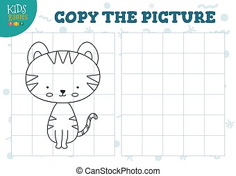 Copy picture by grid vector illustration. Educational mini ...