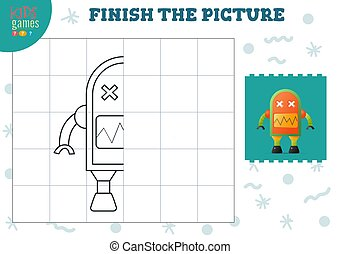Copy picture vector illustration. Complete and coloring game for preschool and school kids. Cute robot half outline for drawing and education activity