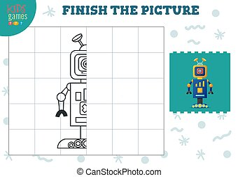 Copy picture vector illustration. Complete and coloring game for preschool and school kids. Cute one eye robot for drawing and early development activity