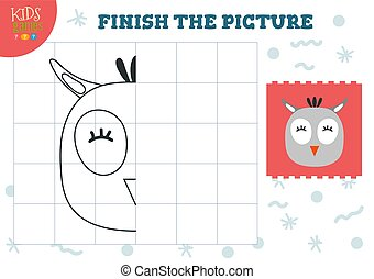 Copy picture vector illustration. Complete and coloring game...