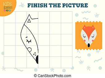 Copy picture vector illustration. Complete and coloring game for preschool kids. Cartoon fox outline for drawing