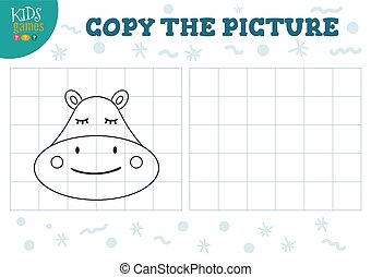 Copy picture vector illustration. Educational game for preschool kids. Cartoon outline hippo head for drawing