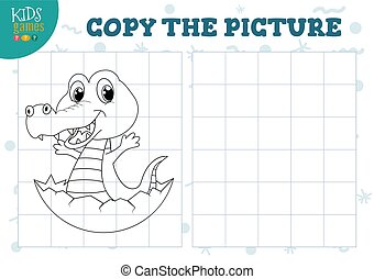 Copy picture vector illustration. Educational game for preschool kids. Cartoon outline little crocodile in the egg for drawing exercise