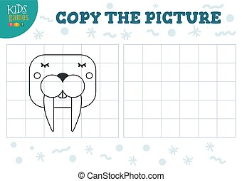 Copy picture vector illustration. Educational game for ...