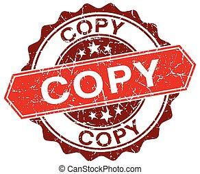 copy red round grunge stamp on white