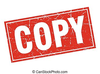 copy red square grunge stamp on white