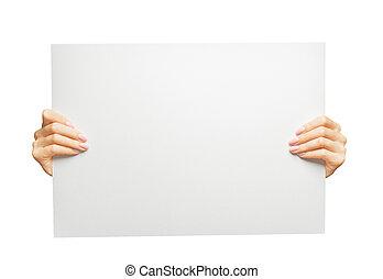 copy-space., affiche, tenant mains, vide, femme