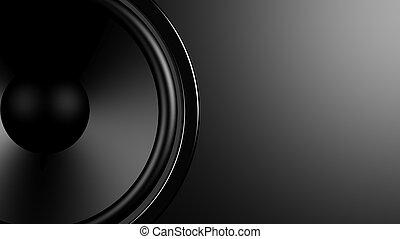 copy-space, altoparlante, closeup, fondo, nero