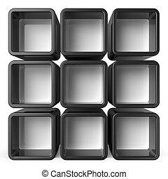 Copy space black and white shelf set 3D render illustration...