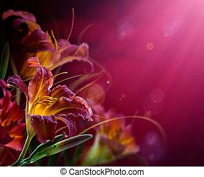 copy-space, flores, fondo rojo, .with