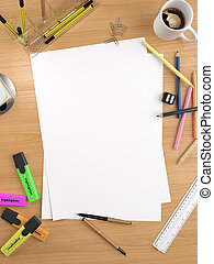 copy space on white sheet - white empty sheet with lots of...