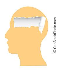 copy-space, rasgado, cabeça