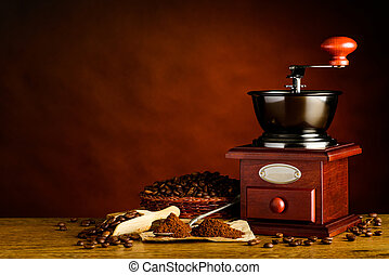 Copy Space with Roasted Coffee Beans and Grinder