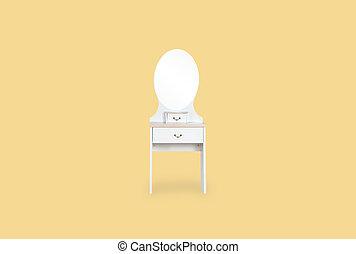 copy., spazio, isolato, sfondo giallo, tavola veste, bianco