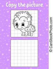 Copy the picture. Coloring book pages for kids. Education developing worksheet. Hedgehog animal. Game for children. Handwriting practice. Funny character. Cartoon vector illustration.