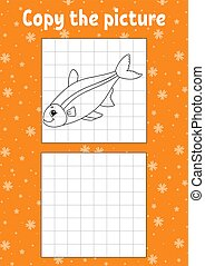 Copy the picture. Fish. Coloring book pages for kids. ...