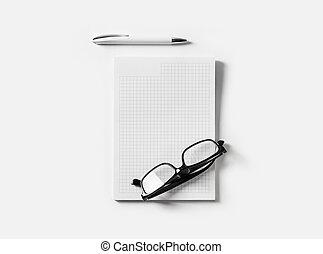 copybook, anteojos, pluma