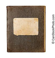 copybook, bianco, vecchio, isolato, chiuso