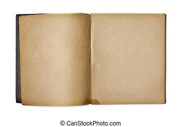 copybook, branca, antigas, aberta, isolado