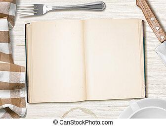 copybook, cottura, ricetta, libro, fondo, tavola, aperto, o...