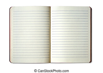 opened ruled exercise book over white background