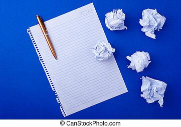 copybook, papel, e, caneta