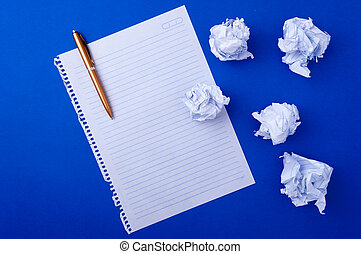 copybook paper and pen - copybook paper, pen and crushed...