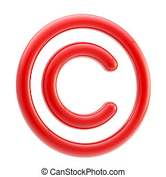 Copyright alert: red glossy copyright symbol