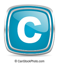 copyright blue glossy icon