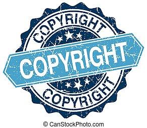 copyright blue round grunge stamp on white