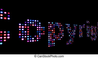 Copyright colorful led text over black background