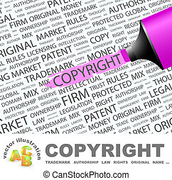 COPYRIGHT. Concept illustration. Graphic tag collection....