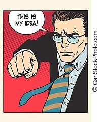 fight fist kick my idea creative process pop art retro style. Patent wars authorship copyright
