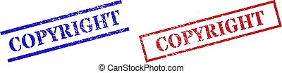 COPYRIGHT Grunge Scratched Stamp Seals with Rectangle Frame