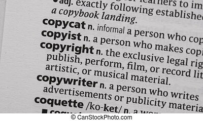 Copyright highlighted in green in the dictionary
