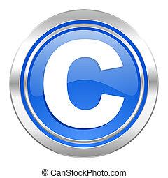 copyright icon, blue button