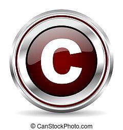 copyright icon chrome border round web button silver metallic pushbutton