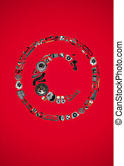 Copyright icone with auto parts for car