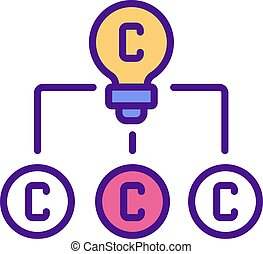 Copyright in derivative works RGB color icon