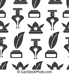 Copyright ink pot and feather monochrome seamless pattern