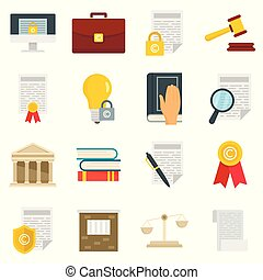 Copyright legal regulations vector icons set